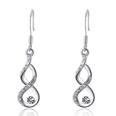 404ee5181a5d  IN EARS  Women s 18K Gold Plated Timeless Swarovski Crystal Dangle  Earrings for Teen Girls