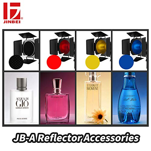 JINBEI JB-A Accessories 7.9''/ 20cm Standard Reflector Bowens Mount and Barndoor Barn Door with Honeycomb Grid & 3 Color Filter Gels Set for Studio Strobe Flash Light by JINBEI (Image #2)
