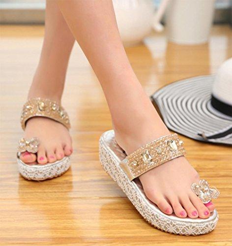 sandalias de las mujeres del diamante conjuntos de playa casuales foot mujeres pesado-zapatillas Silver