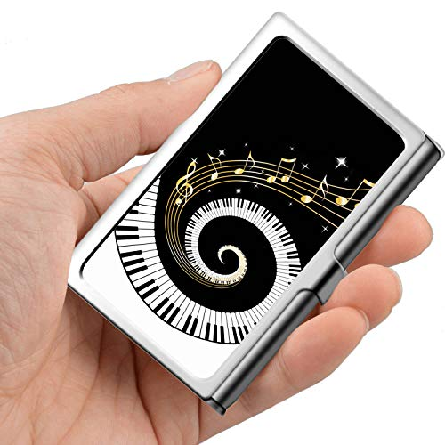 Professional Business Card,Stainless Steel Wallet case Credit Card ID Card Holder Music is Love Kaleidoscope ()