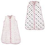 Hudson Baby Unisex Muslin Cotton Sleeveless Wearable Sleeping Bag, Sack, Blanket, Pink Sheep/Pink Aztec Muslin 2-Pack, 0-6 Months