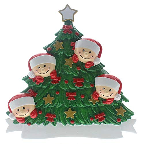 SMYER Christmas Table Topper Decoration,Personalize Tabletop Family Ornaments,Hand Personalized Family of 4 Christmas Ornament 2019,Table Topper with Snowman,Free Pen (TableTopper of 4) ()