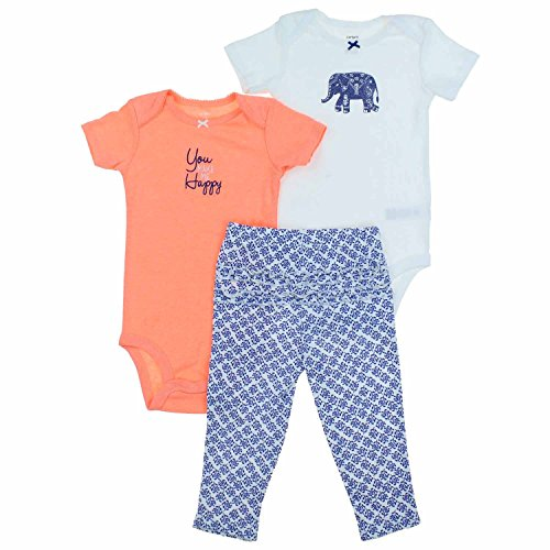 (Carters Baby Girl's 3 Piece Set-2 Bodysuits, 1 Pant (18M, White Elephant) )