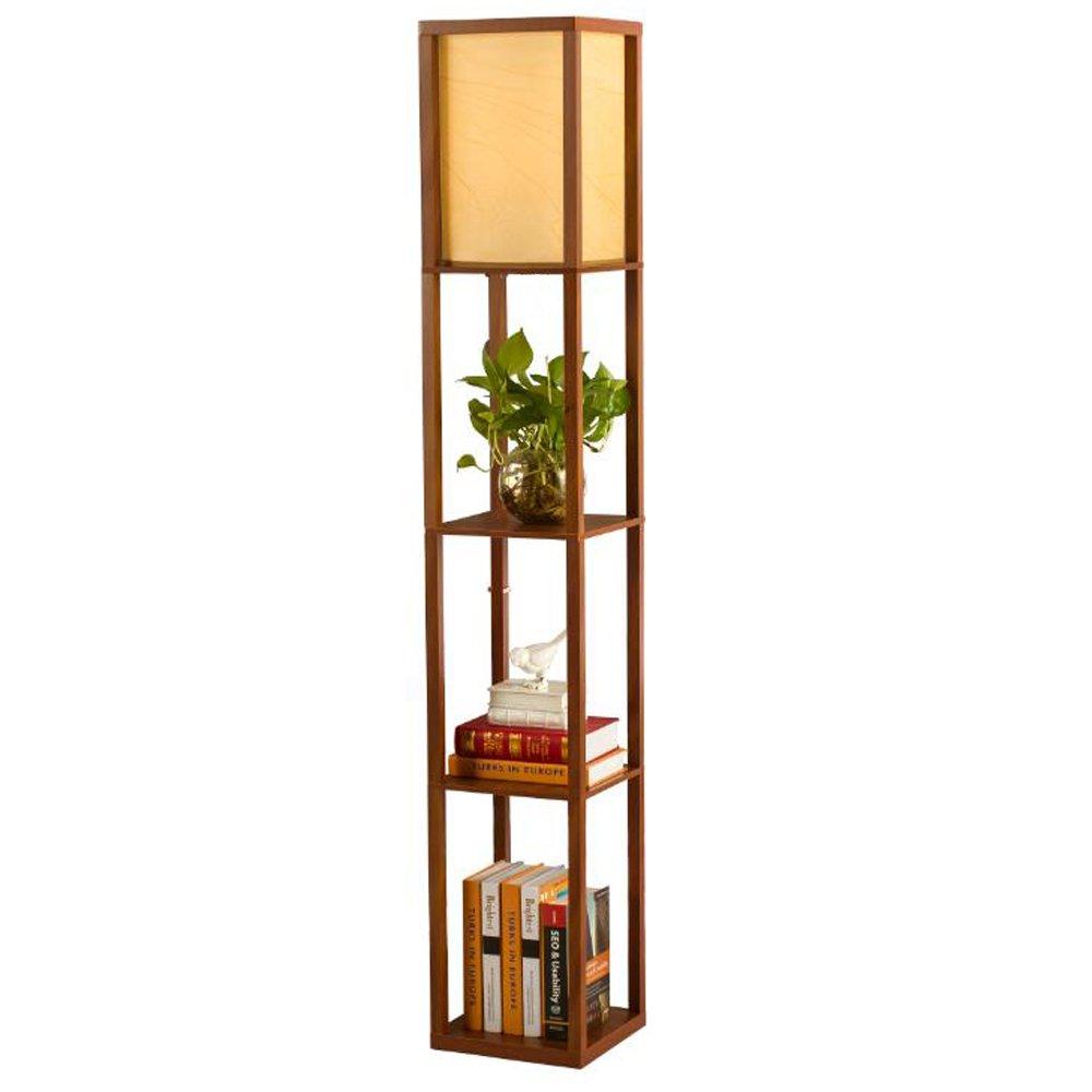 QIANGUANG® Illuminazione interna Lampada da terra in legno da 1, 6 m con ripiani per camera da letto e soggiorno (senza lampadina) (Brown)