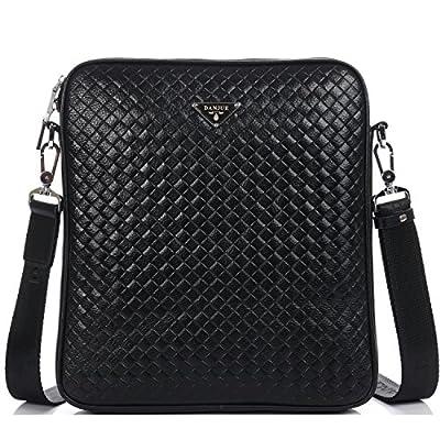 DANJUE Mens Shoulder Bags Leather Delicate Plaid Pattern Trendy Sling Crossbody Bag with Removable Strap Business Casual Messenger Bag Waterproof Satchel Men 8802-3 durable service
