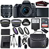 Canon EOS 77D DSLR Camera with Canon 18-55mm Lens + 32GB Memory + Digital Flash + Wide & Tele Auxiliary Lenses + High Def Filter Kit + Accessory Bundle
