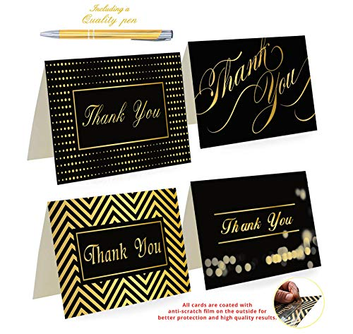 100 Thank You Cards By Office 247- Luxury Card Set of 4 Black & Gold Designs. Thank You Cards Bulk with Envelopes & Stickers - Blank Inside, 4