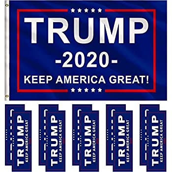 0b9283ea2ba83d Jetec 1 Pack President Donald Trump Flag 2020 (3 x 5 Feet) with Grommets  and 10 Pieces Bumper Stickers Car for Supporting President Trump (Color A)