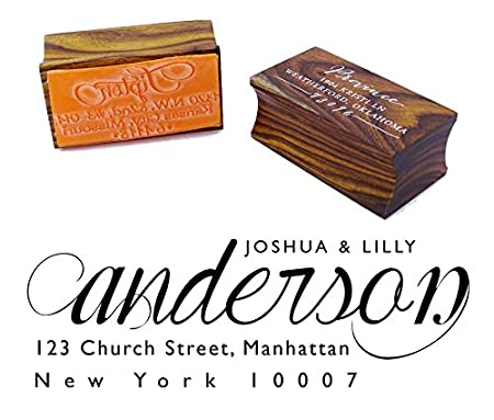 Custom Wood Mounted Rubber Stamp Personalized Family Return Address Stamp Engagement Gift Printtoo