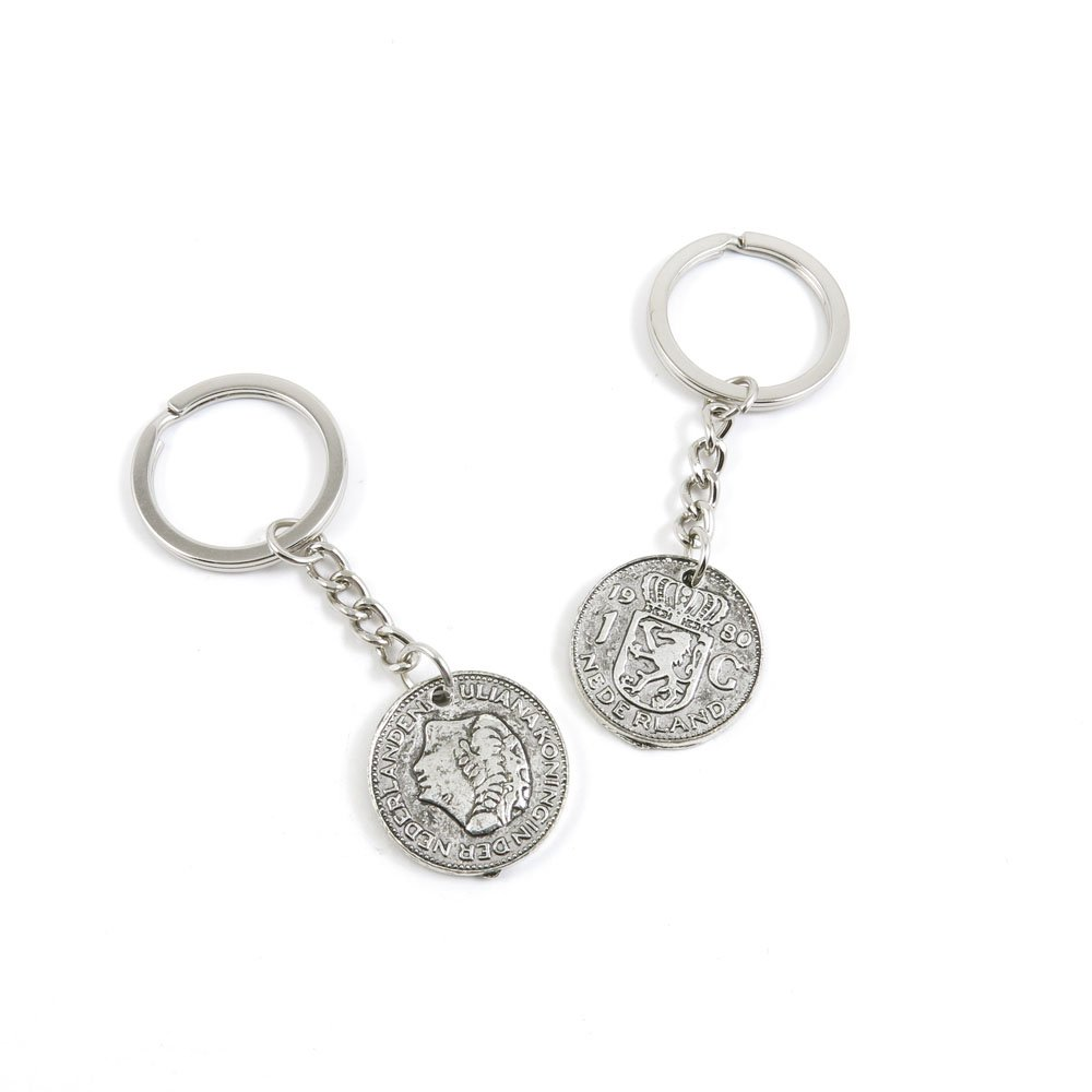 100 Pieces Keychain Door Car Key Chain Tags Keyring Ring Chain Keychain Supplies Antique Silver Tone Wholesale Bulk Lots J4UQ5 Netherlands Coin