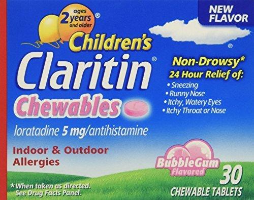 Claritin Children's 24 Hr Allergy Relief Bubble Gum Flavor 30 Chewable Tablets (1 -