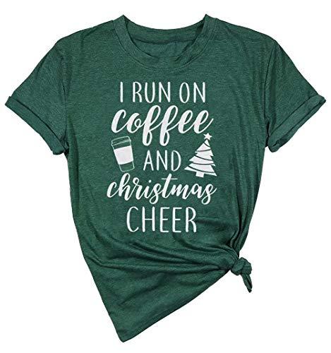 I Run On Coffee and Christmas Cheer Shirt Women Short Sleeve Christmas Funny Top Size M (Green)