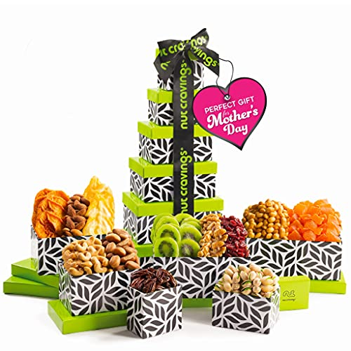 Mothers Day Dried Fruit & Nut Gift Basket, Leaf Tower + Ribbon (12 Piece Assortment) - Prime Arrangement Platter, Birthday Care Package Variety, Healthy Food Kosher Snack Box for Mom, Women, Men