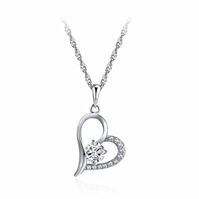 AanYuAan 925 Silver Necklace WomenS Simple Clavicle Chain Give Your Girlfriend A Birthday Gift 15 J41005 Amazoncouk Jewellery