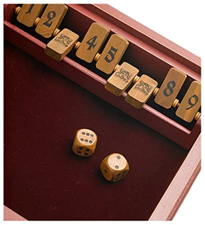 Shut-The-Box Bookshelf Edition Front Porch Classics BS02042 nostalgic number game dice game chance math facts family game designer case gift executive gift bookshelf display wood collector item old fashioned