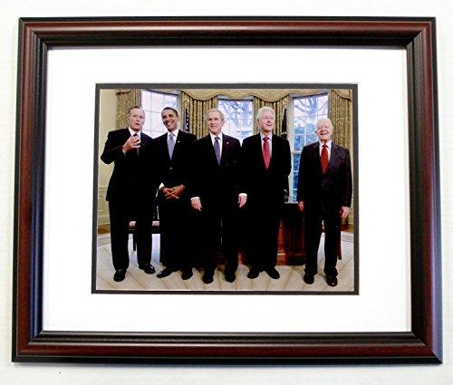Frame Bush (5 US Presidents Bush, Obama, Bush, Clinton & Carter 8x10 Photo 11x14 Cherry Frame)