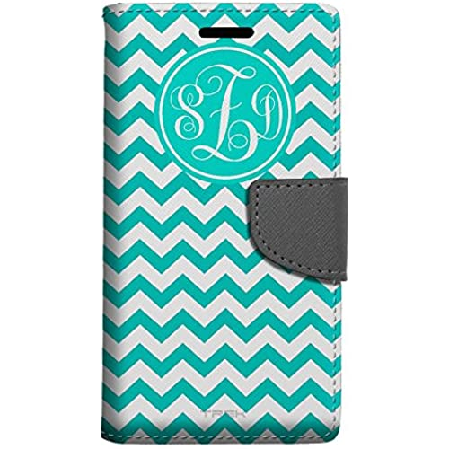 Monogram Samsung Galaxy S7 Edge Wallet Case - Chevron Zig Zag Turquoise & White Sales