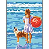 RTO Girl with Ball D'Art Needlepoint Printed Tapestry Canvas, 30 x 40cm