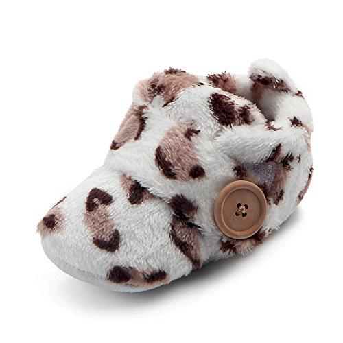cinnamou Schöne Kleinkind erste Wanderer - Baby Snow Button Stiefel - Runde Zehe Wohnungen weiche Hausschuhe Schuhe Braun