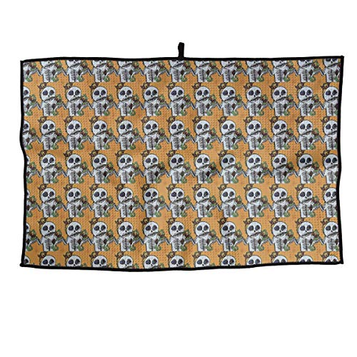 HFXFM Twisted Orange Skull Grid Microfiber Cooling Golf Towel Light Weight & Quick Drying & Super Absorbent Sport Travel Towel for ()