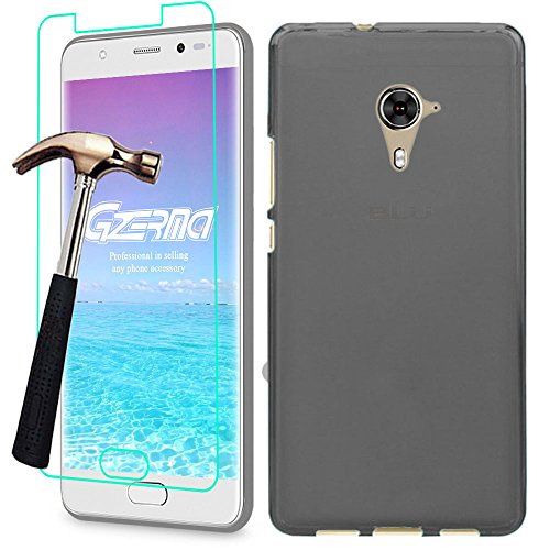 BLU LIFE ONE X2 MINI Case + Screen Protector, Gzerma Soft Shock-Absorbing TPU Durable Protection Ultra Slim Fit Back Cover and Shatter-proof Protective Film for BLU LIFE ONE X2 MINI Smartphone (Gray)