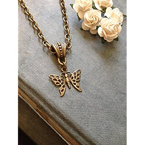 86903ca1b58b38 8th Wedding Anniversary - Vintage Butterfly Filigree Bronze Necklace -  Wrapped & Gift Boxed 50%