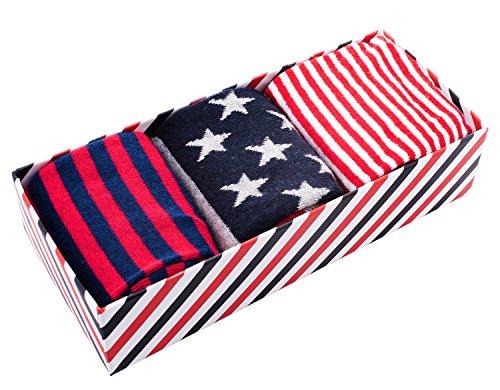 Sock Gift Box - Multi Colored Socks - Stripe & Stars - Red, White, Blue - 3 pairs