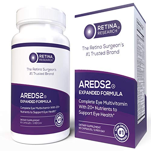 AREDS 2 Eye Vitamins - Lowered Non-Toxic 25mg Zinc Dose - Expanded with 20+ Proven Nutrients to Support Eye Health - 90 Capsules - by Retina Research