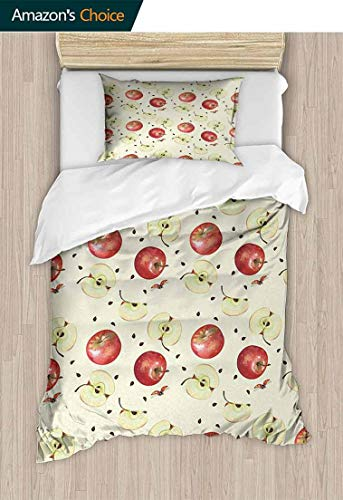 Temox Apple Print Comforter Quilt Set, Seeds of Winter Fruits Groceries Homeopathic Ingredients with Ladybug Motifs, with 1 Pillowcase for Kids Bedding,71 W x 79 L Inches, Cream Ruby Umber