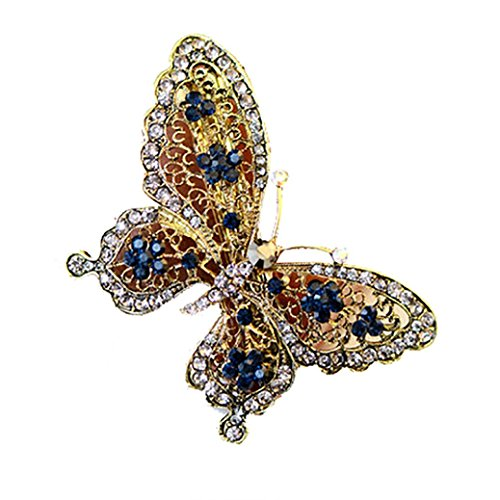 Elegant Hairpins,WuyiMC Women's Exquisite Butterfly Shaped Rhinestone Hair Barrette Clip Accessary (Gold)