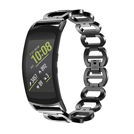 Tosenpo Samsung Gear Fit 2 Strap Black Silver. Banda de ...