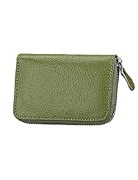 Genuine Leather Card Case Wallet RFID Secure Card Holder Small Zipper Purse, Green