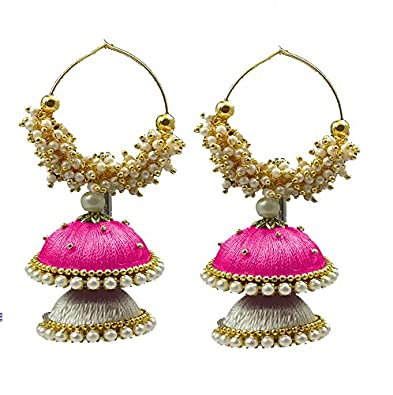799c24e012 Buy Hot Selling Silk Thread Loreal Jhumka Earrings Pink-White Color Online  at Low Prices in India | Amazon Jewellery Store - Amazon.in