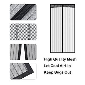 Liveinu Unique Design Reinforced Magnetic Screen Door Fits Doors Up To 78 x 94 Inch with Full Frame Velcro Fly Mosquito Curtain Grey 31x78 Inch