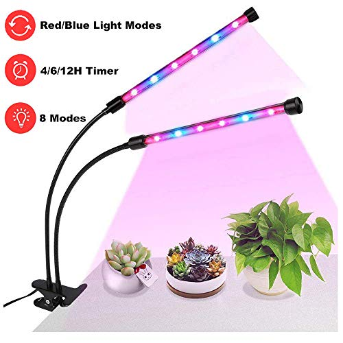 $21.99 LED Glow Light, LOPET 24W Dual Head Glow Lamp for Plants with 4/6/12H Timer, 8 Dimmable Modes, 360 Degree Gooseneck, UV&IR Full Spectrum for Indoor Plants Germination Kit Hydroponics Greenhouse 2019