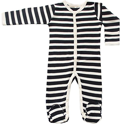 5 Maple Natural (Organic Cotton Baby Long Sleeve Footie GOTS Certified (Black-Natural, 3-6m))