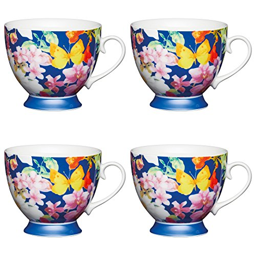 (Kitchen Craft Large Bone China 'Blue Butterfly' Footed Printed Flower Mugs, 400 ml - Blue (Set of 4))