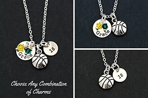 Personalized Silver Basketball Necklace - DII ABC - Team Gift - Handstamped Jewelry - 3/8 1/2 Inch 9MM 12MM Discs - Choose Crystal Colors - Customize Name & Number - Fast 1 Day Shipping