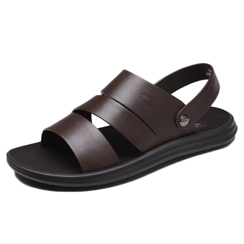 snfgoij Sandalias Para Hombres Deportes Al Aire Libre Ajustables Zapatos Cómodos Para La Playa Calzado Abierto De Cuero Genuino De Verano 41 EU|Brown1