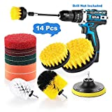 Drill Brush Attachments Set, 14Pcs Power Scrubber Drill Bottle Brush with Extend Long Attachment, Scrub Pads & Sponge All purpose Cleaning Kit for Shower, Carpet, Bathtub, Grout, Tile, Auto