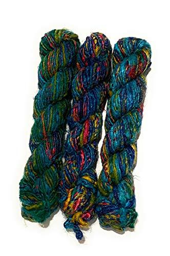 Recycled Chunky Banana Silk Yarn for Knitting, Weaving and Crochet/Thick Yarn 100gm (Blue)