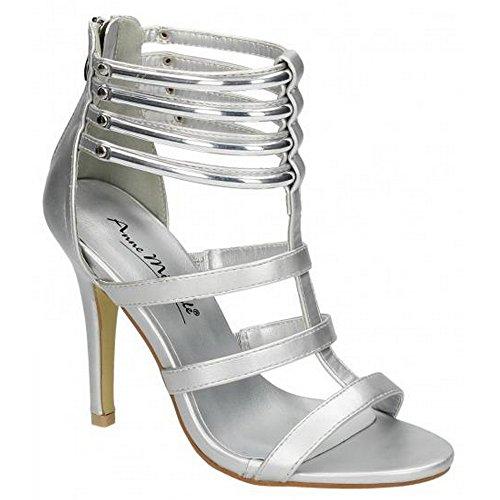 Ladies Anne Michelle Heeled Sandals Silver