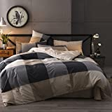 Jane yre Geometric Grey Plaid Pattern Duvet Cover Set Queen Size 100% Cotton for Kids Boys Men Luxury 3 Piece Grid Bedding Sets,Reversible Striped Duvet Cover Set Gray with Hidden Zipper