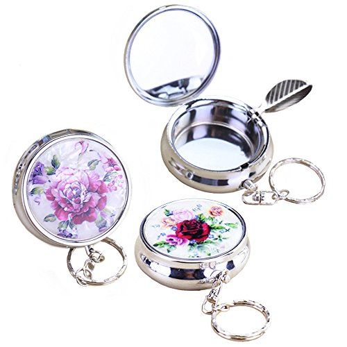 Hatisan 3Pcs Portable Pocket Ashtray Stainless Steel Vehicle Cigarette Ashtray with Keychain