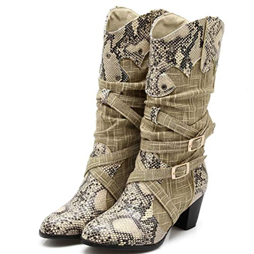 T-JULY Women's Winter Snow Boots Lady's Western Cowboy Boots Snake Print Mid Calf Snow Boots Shoes Female Buckle Strap ()