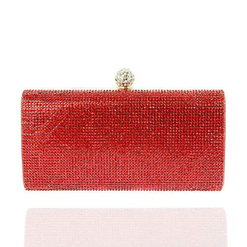 (SP SOPHIA COLLECTION Elegant Rectangle Rhinestone Crystal Hand Clutch Evening Bag for Parties in Red)