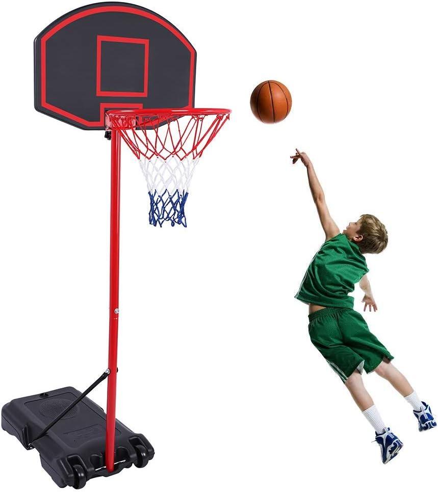 GreenGee Portable Basketball Hoop Portable Mini Basketball Hoop System for Kids(US Stock) Height Adjustable(5.8-7.4 ft) Basketball Hoop Indoor Outdoor Basketball Hoop System