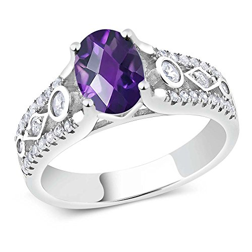 1.56 Ct Checkerboard Purple Amethyst 925 Sterling Silver Engagement ()