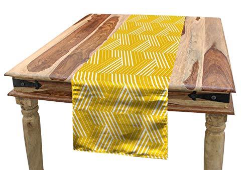 ABAKUHAUS Amarillo Y Negro Camino de Mesa, Enrejado Simple, Rectangular para la Cocina Estampado Lavable No Destine, 40 x 180 cm, Tierra Blanco Amari