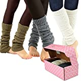 TeeHee Women's Fashion Leg Warmers 3-Pack Assorted Colors (Cable Chain)